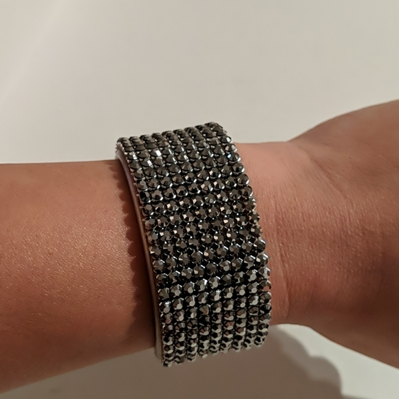 Swarovski Crystal Pave Leather Bracelet